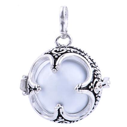 Colgante-Colgante plata Colgante en forma de Bola para embarazadas, diseño de trébol de