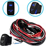 Liteway One-To-Two Universal LED Light Bar Wiring Harness Kits 24V/40A Relay ON-OFF Blue Laser Rocker Switch…