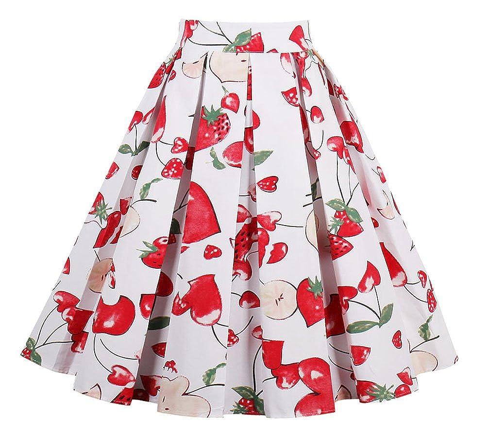 Vivibridal Womens A-Line Vintage Pleated Floral Print Midi Skirt