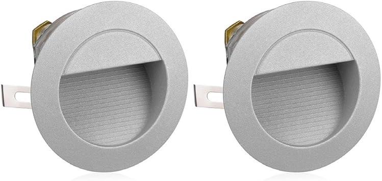 Parlat LED lámpara de Escalera lámpara empotrable en la Pared para el Exterior, Redondo, Blanca cálida, 230V, 2 UDS: Amazon.es: Electrónica