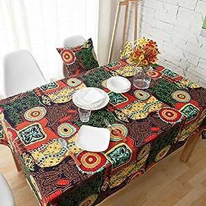 Mantel de Comedor Mantel Cuadrado Lino Algodón Mantel 140x140cm Multicolor