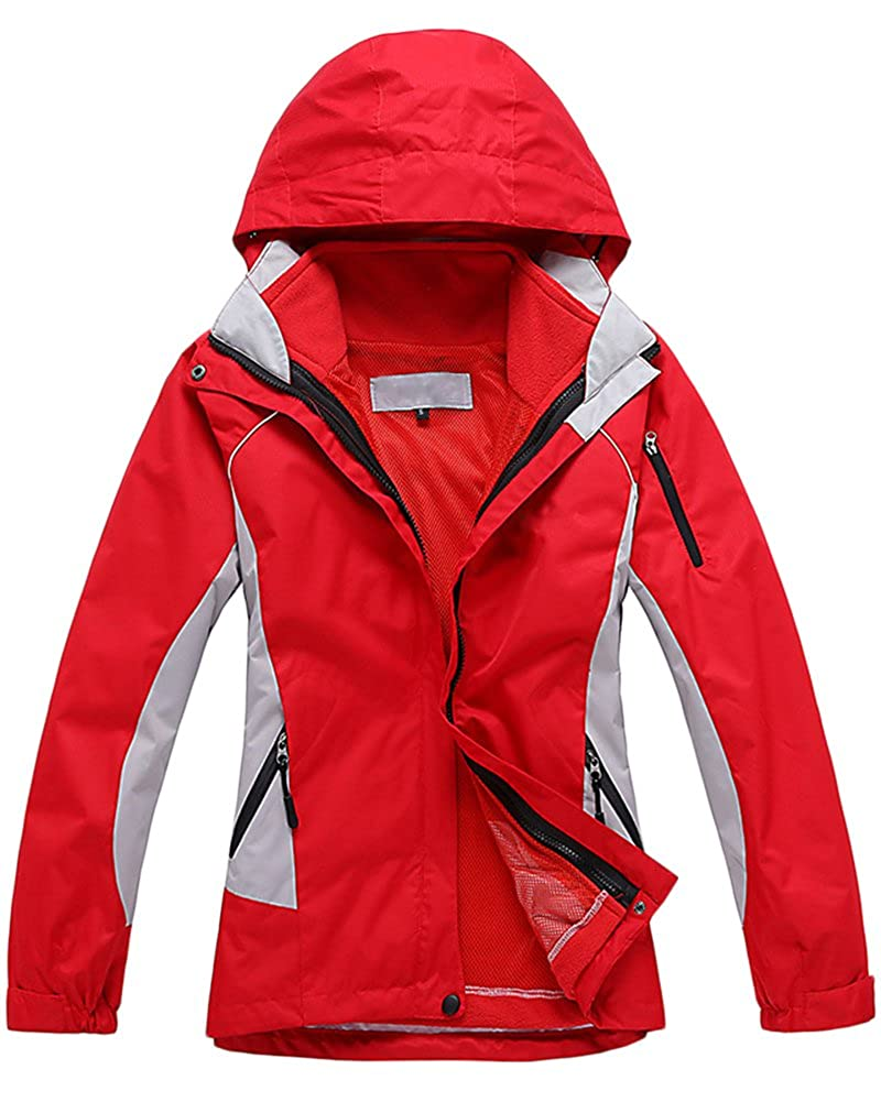 Qitun Mujer Chaqueta de Esqu/í Chubasqueros Al Aire Libre Impermeable con Capucha de Nieve Capa Excursionismo Chaquetas