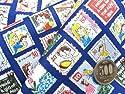 キャラクター生地 お手軽 セット アルプスの少女ハイジ(切手柄・紺)#7( 2018-2019) (生地40cm+縫い糸1個+ひも2m) はぎれ 布 セット ハギレ ピロル