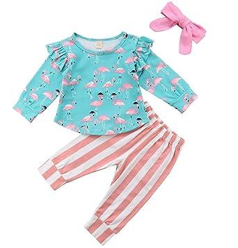 fb5e95a00549 3Pcs Baby Girl Pink Ruffle Romper Long Sleeve Bodysuit Tops Flamingos Pants  Headband Outfits Set (