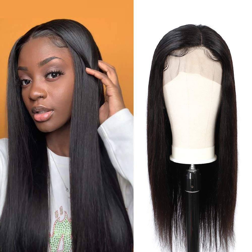 360 Lace Frontal Wig Peruvian Virgin Human Hair Straight Wigs 150% Density Pre-Plucked Hairline Natural Color 360 Lace Wigs with Baby Hair 18inch by VOGSHION