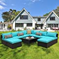 Outdoor PE Wicker Rattan Sofa Patio Garden Sectional Cushioned Seat Furniture Set