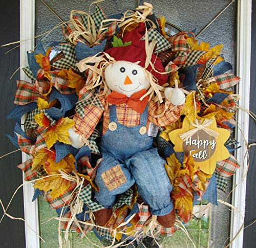 Fall Scarecrow Deco Mesh Front Door Wreath, Maple Leaves, Sunflower, Autumn Home Decor, Porch Patio Decoration, Farmhouse Country Style