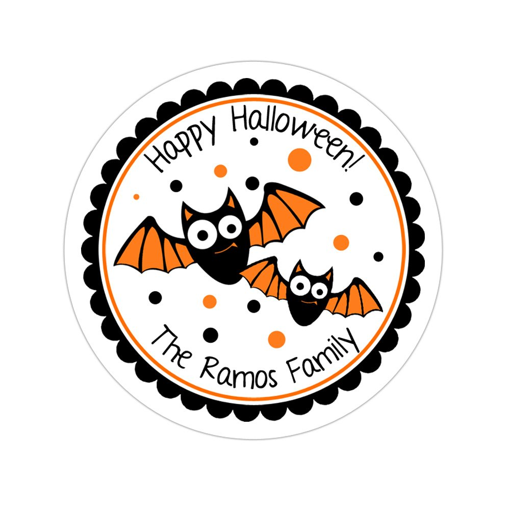 Personalized Customized Halloween Party Favor Thank You Stickers - Bats - Round Labels - Choose Your Size
