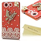 Z3 Compact Case, Sony Xperia Z3 Compact Case - Mavis's Diary 3D Handmade Bling Diamonds with Glitter Rhinestone Gems Sparkle Crystal Clear Hard PC Cover - Metal Butterfly and Pearl Flower with Lace