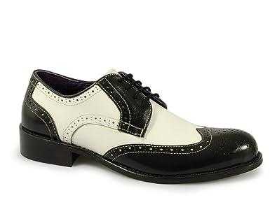 40031b878a474 Gucinari VILLA Funky Chaussures richelieu en cuir pour homme Noir blanc -  Noir - Noir