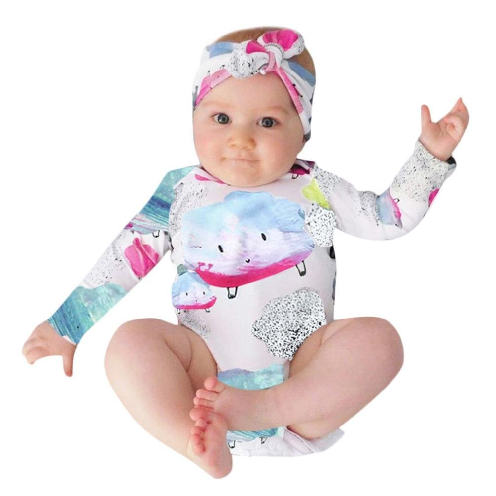 K-youth Ropa Bebe Recien Nacido Invierno Otoño Niñas y Niño Pijama Conjunto Body Bebe Manga Larga Estampado Nube Mameluco con Capucha Manga Larga Bebe Mono ...