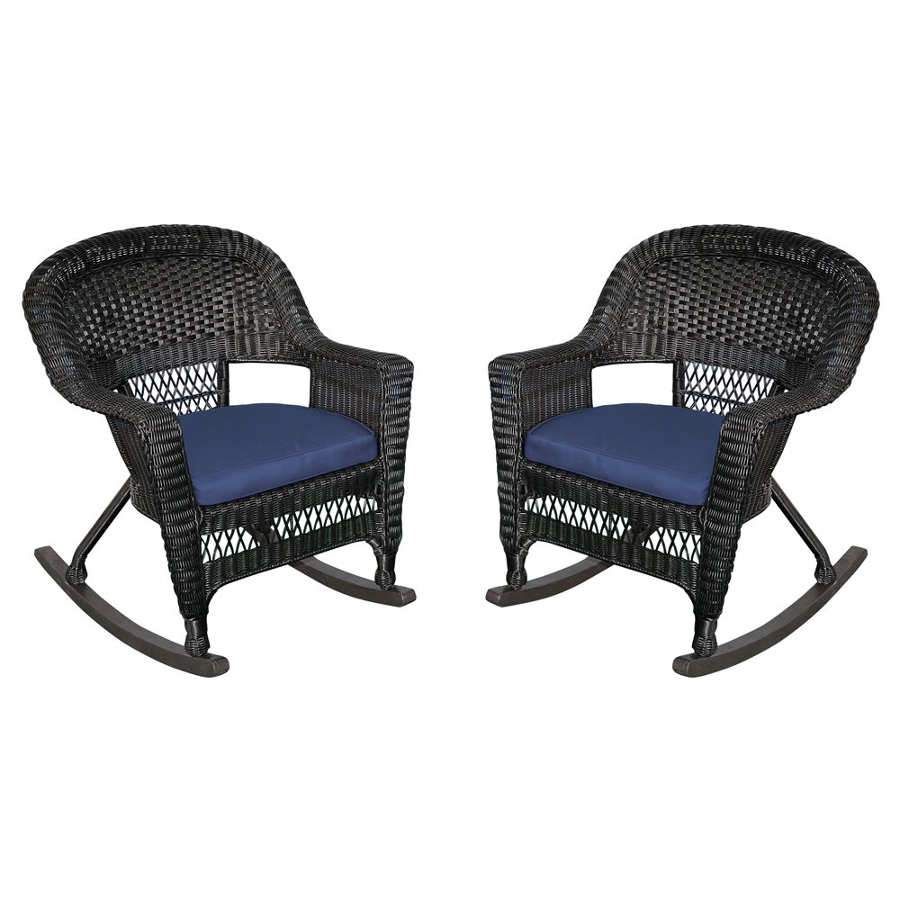 Jeco Rocker Wicker Chair with Blue Cushion, Set of 2, Black
