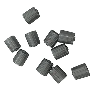 Germban 10pcs Plastic Gray Tire Valve Stem Caps TPMS Tire Cap with Gasket: Automotive