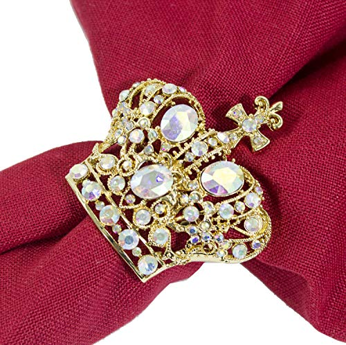 Fennco Styles Gorgeous Metal Jeweled Napkin Rings - Set of 4 (Crown-Bejeweled)
