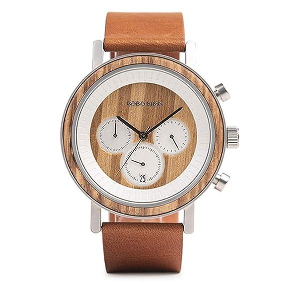 HWCOO Hermosos Relojes De Madera, Moda Reloj de Madera ...