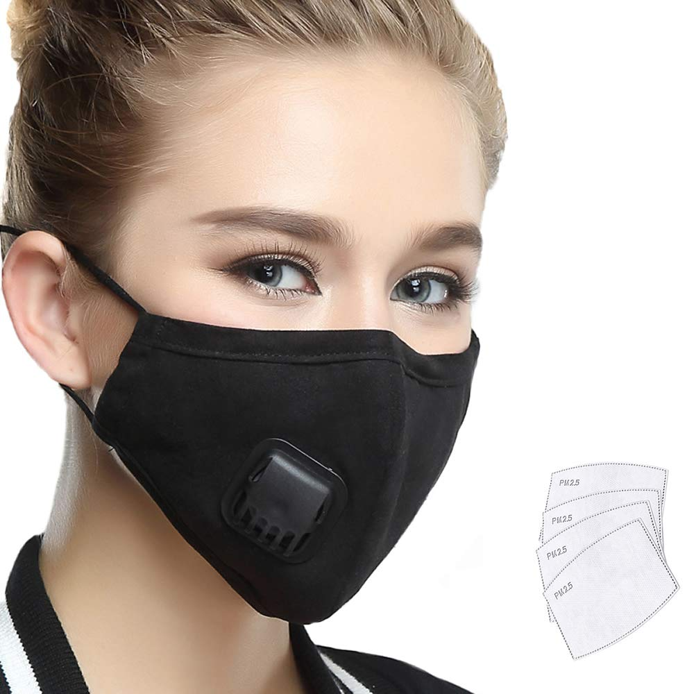 Lyanty Anti Pollution Mask Military Grade N99 Mask Washable Cotton Mouth Masks With Valve Replaceable Filter (One Mask + 4 filters) (Medium, women-Beige) WECAN MASK