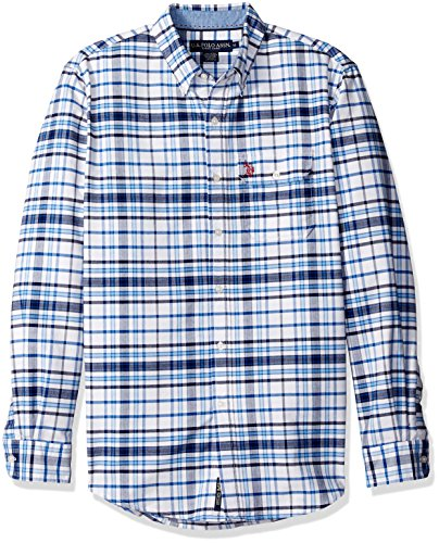 Navy Plaid Button Down Shirt (U.S. Polo Assn. Men's Long Sleeve Plaid Oxford Cloth Button Down Woven Shirt, Classic Navy,)