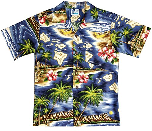 RJC Boy's Hibiscus Hawaiian Island Hawaiian Shirt Navy Blue (Island Hibiscus Hawaiian Shirt)