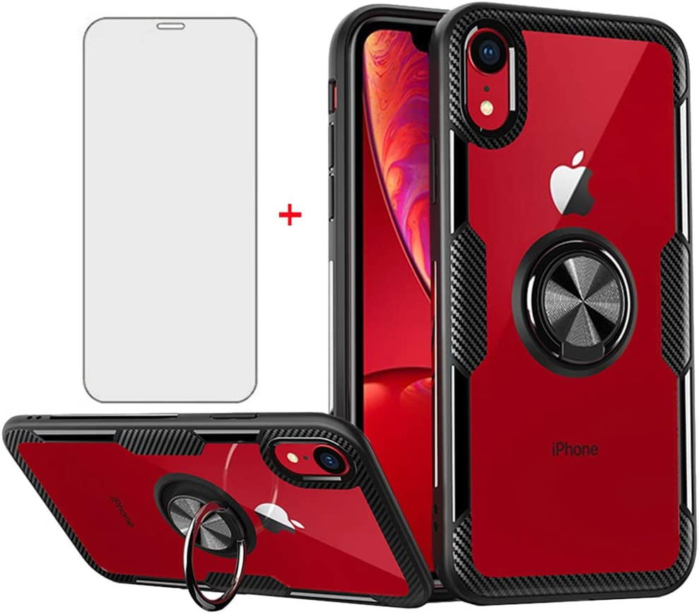 Phone Case for iPhone XR with Tempered Glass Screen Protector Clear Cover and Stand Ring Holder Cell Accessories iPhoneXR iPhone10R i Phonex 10XR 10R 10 R RX CR iPhoneXR Cases Men Black