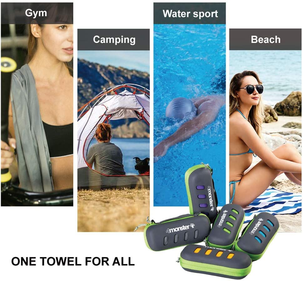4Monster Microfiber Towel, Travel Towel, Camping Towel,Large Size 26.7 x 55.1¡±, Fast Drying, Soft Light Weight,Suitable for Gym, Beach, Swimming, Backpacking and More: Home & Kitchen