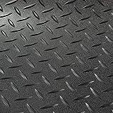 RV Trailer Diamond Plate Pattern Flooring | Black | 8' 2'' Wide | Rubber Flooring | Garage Flooring | Gym Flooring | Toy Hauler Flooring | Car Show Trailer Flooring (Black, 20')