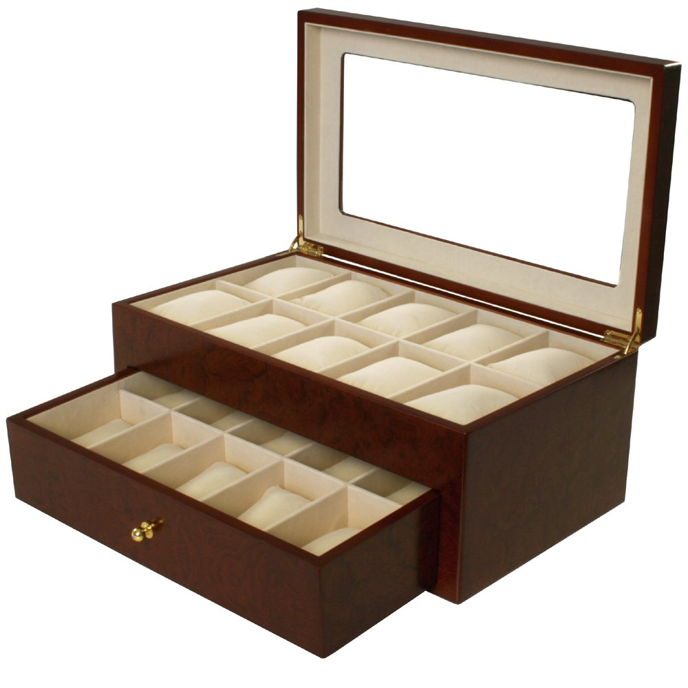 Watch Box for 20 Watches XL Extra Large Compartments Fits 65mm Soft Cushions Clearance (Cherry)