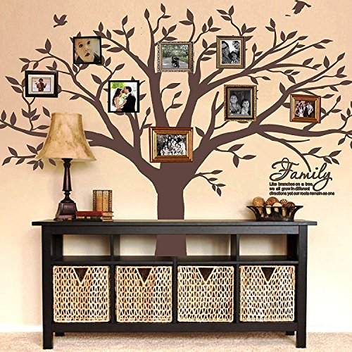 MAFENT Family Tree Wall Decal Quote- Family Like Branches On A Tree Lettering Tree Wall Sticker for Bedroom Decoration (Coffee Brown)
