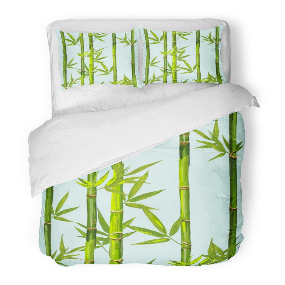 Emvency 3 Piece Duvet Cover Set Brushed Microfiber Fabric Green Tree Beautiful Bamboo Pattern Perfect for Chinese Spa Vintage Abstract Breathable Bedding Set with 2 Pillow Covers Twin Size