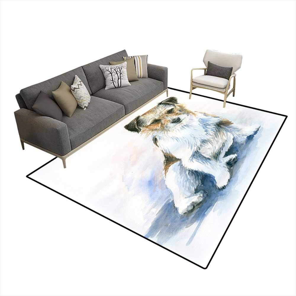 color05 W6'6\ color05 W6'6\ Washable Carpet The Dog Over White 6'6  x10' (W200cm x L300cm