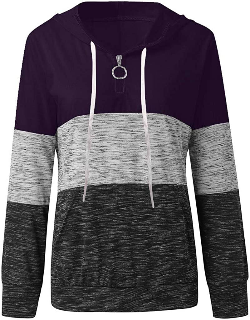 Wadonerful Womens 1//4 Zip-up Color Block Pullover Patchwork V Neck Long Sleeve Loose Top with Pocket Sport Sweatshirt