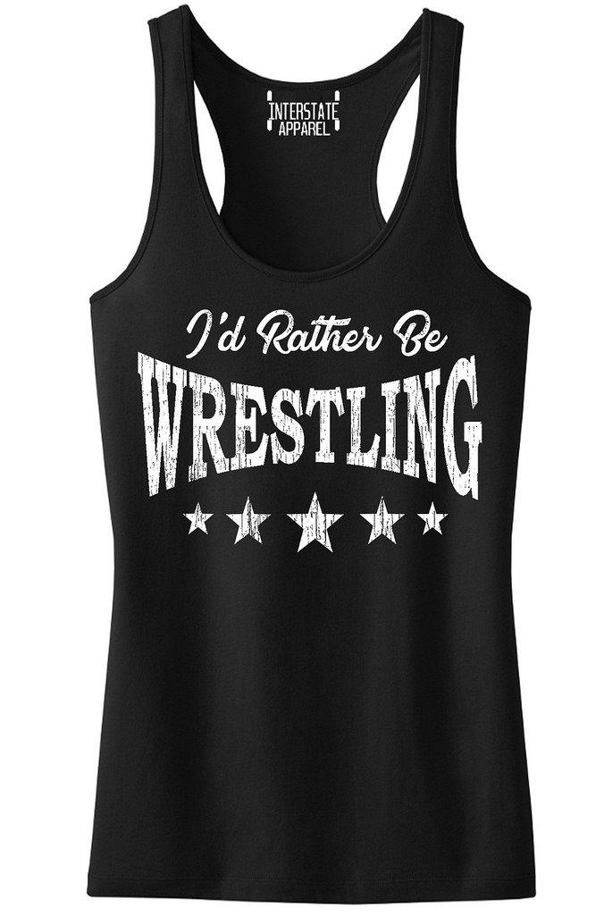 Interstate Apparel Inc Junior's I'd Rather Be Wrestling Black Racerback Tank Top T-Shirt X-Large Black