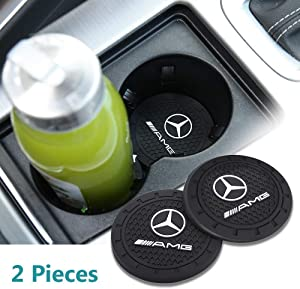 Wall Stickz car Sales 2.75 Inch Diameter Oval Tough Car Logo Vehicle Travel Auto Cup Holder Insert Coaster Can 2 Pcs Pack (fit amg)