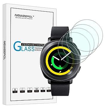 [4 unidades] newzerol para Samsung Gear reloj inteligente deporte (31 mm) versión actualizada 2.5d Arco Borde 9 dureza alta definición cristal templado ...