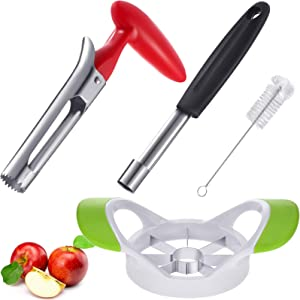 4 Pieces Apple Corer Set, Include Apple Corer Remover Apple Corer Divider Fruit Slicer Cutter Stainless Steel Kitchen Tool Corer Remover with Cleaning Brush for Fruits Pears Bell Peppers