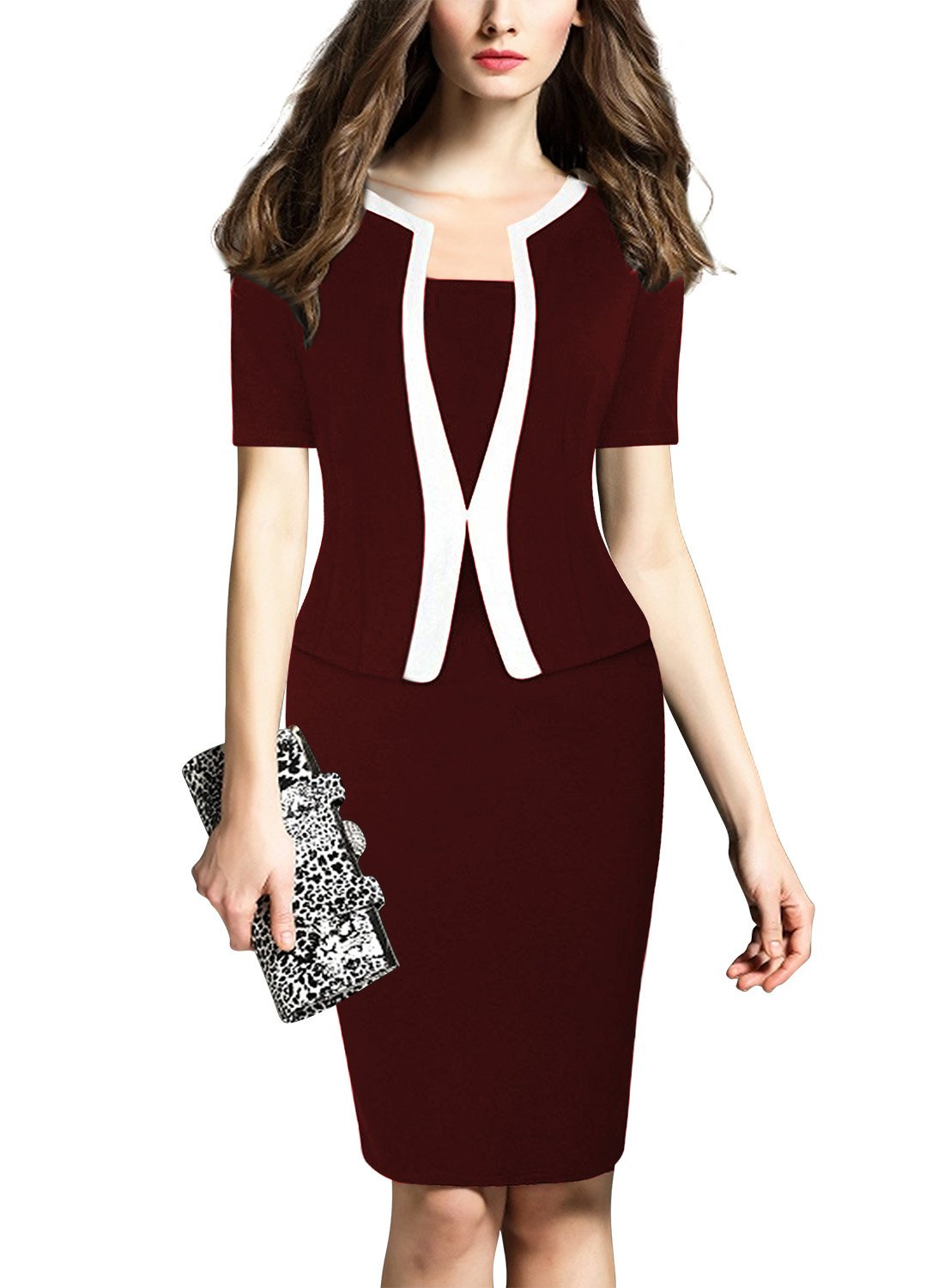 MUSHARE Women's Colorblock Wear to Work Business Party Bodycon One-Piece Dress (Small, Burgundy-Short)