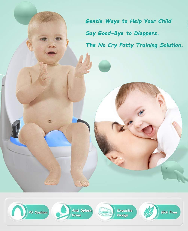 Ergonomico Riduttore Water con Braccioli Imbottito Base antiscivolo Paraspruzzi Schienale bianco Riduttore WC per Bambini blu