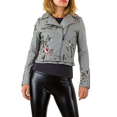 ed5f5679b050a0 Schuhcity24 Damen Jacke Bestickte Lederjacke Imitat Bikerjacke  Motorrradjacke Sommerjacke Übergangsjacke Herbstjacke Nietenjacke:  Amazon.de: Bekleidung