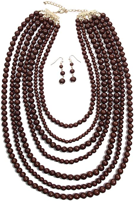 Set of 3 Vintage Beaded Beads Costume Fashion Jewelry Necklace Earrings Heart Gift for Her