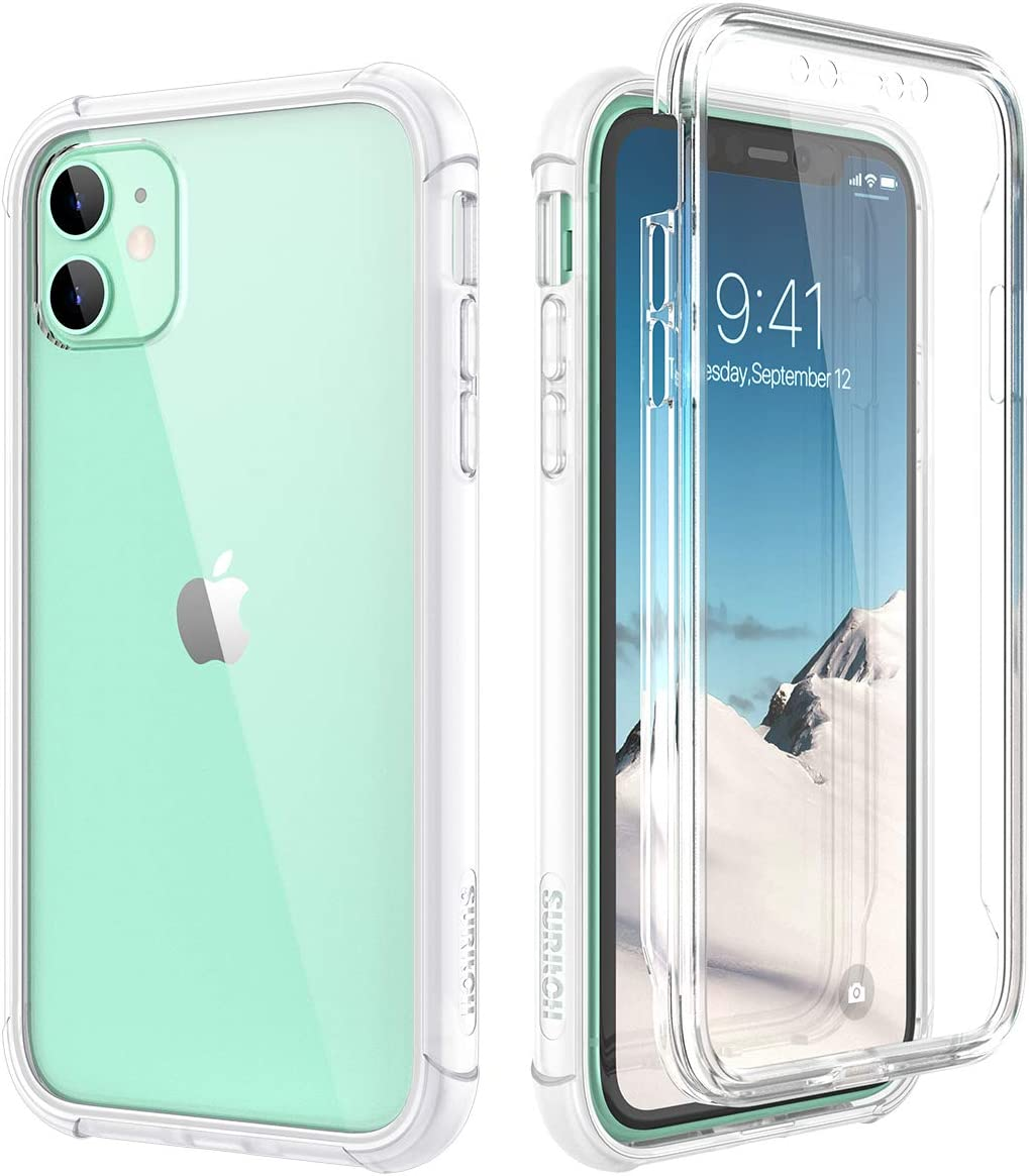 SURITCH Clear Case for iPhone 11,?Built in Screen Protector??Support Wireless Charging? Hybrid Protection Hard Shell+Soft TPU Rubber Bumper Rugged Case Shockproof for iPhone 11 6.1