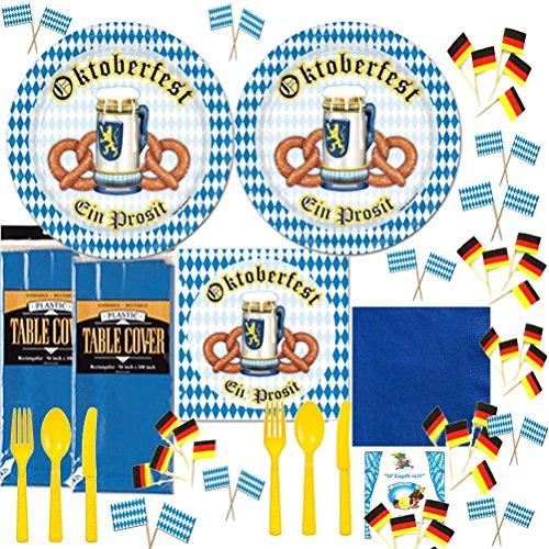Oktoberfest Picks (Oktoberfest Party Supplies Kit Disposable Dinnerware Blue White German Flag Dinner Plates Napkins Cutlery Picks Table covers Idea Guide Bundle Serves)