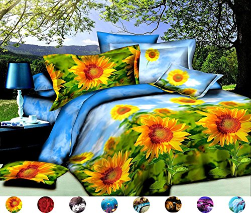 4 Piece Set Luxury Soft 3d Print Flower Pattern Bed Sheet Set,Summer Light Sunflower Sea (1 Flat Sheet,1 Fitted Sheet,2 Pillow shams) (Queen, Sun - 1 Sheet Flowers