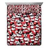 Jay Franco Disney Mickey Mouse Funny Faces Red 4 Piece Queen Sheet Set