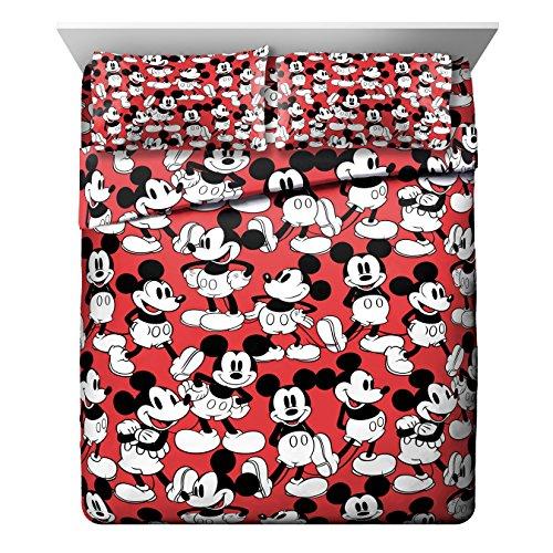 Disney Mickey Mouse Funny Faces Red 4 Piece Queen Sheet Set, Faces Queen Sheet Set