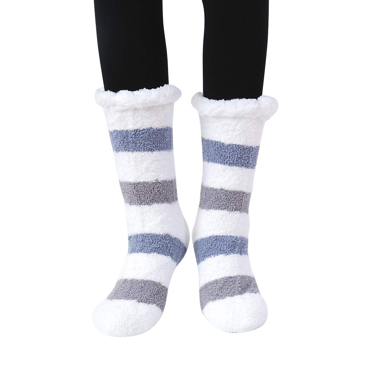 0b2f1bb107764 SKOLA 1 Women's Winter Soft Thick Warm Cozy Fuzzy Fleece-lined Gift  Grippers Slipper Socks Thermal Double Layer Crew(Blue Gray Stripe) at  Amazon Women's ...