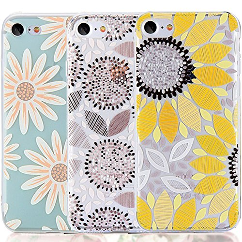 iPhone 6 6S Case with Flowers, [3-Pack] CarterLily Watercolor Flowers Floral Pattern Soft Clear Flexible TPU Back Case for iPhone 6 6S 4.7'' - Yellow Flowers