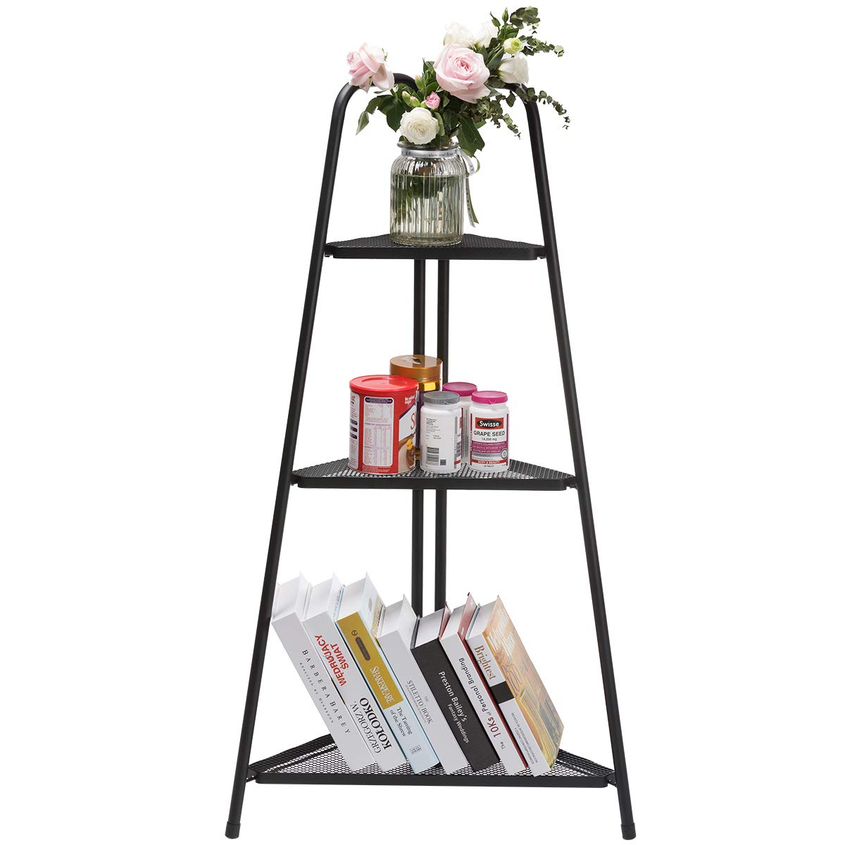 DOEWORKS Corner Shelf, 3-Tier Storage Rack, Black Organizer Unit for Home Office