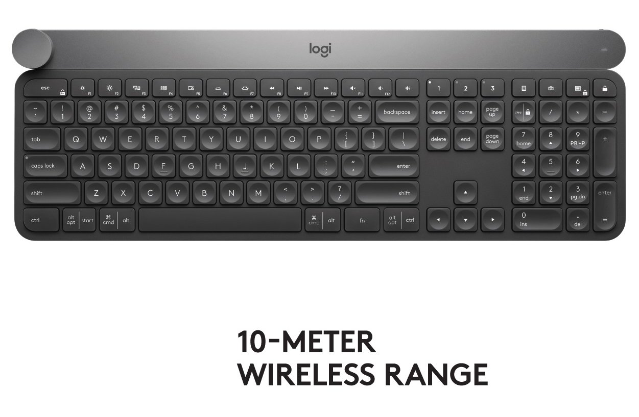 Logitech Craft Advanced Wireless Keyboard with Creative Input Dial and Backlit Keys, Dark grey and aluminum by Logitech (Image #2)