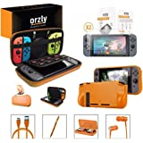 Orzly Switch Accessories Bundle, Orange Orzly Carry Case for Nintendo Switch Console, Tempered Glass Screen Protectors, USB Charging Cable, Switch Games Case, Comfort Grip Case, Headphones, Orange