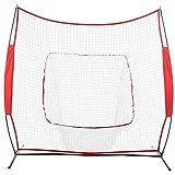 DESERT FOX 7'' x 7'' Baseball Train Net Rack Rebound Goal Black Sleevelet & Carry Bag (Red)