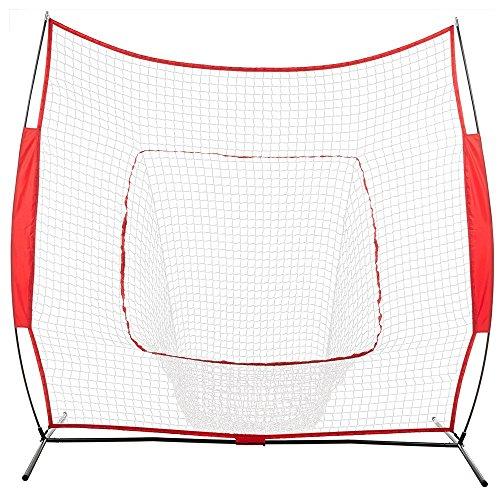 DESERT FOX 7'' x 7'' Baseball Train Net Rack Rebound Goal Black Sleevelet & Carry Bag (Red) by DESERT FOX